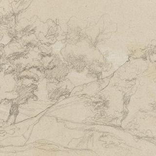 로마의 평야 : 암석이 있는 비탈길 발치의 두 그루의 나무