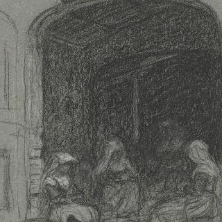 집안 일을 하며 현관 주변에 앉아있는 세 여인들