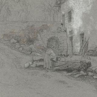 어느 가옥의 안뜰에서 일하는 이탈리아 아낙네들