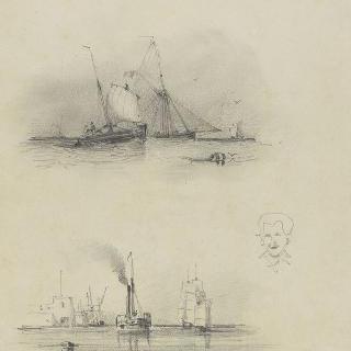 윗쪽 : 바다의 범선들 중앙 : 초벌화된 남자의 두상, 하단 : 항구의 전경
