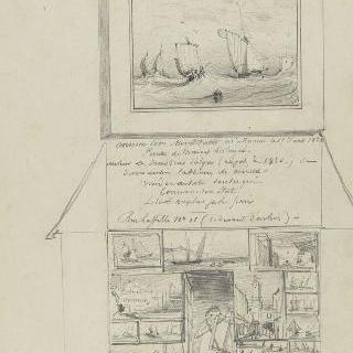윗쪽 : 바닷가의 범선들, 아랫쪽 : 크로키 조합, 중앙 : 서 있는 화가