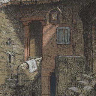 마을 모퉁이에 붙어 있는 두 채의 집과 두 개의 낮은 계단