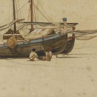 포르토 단지오, 좌초된 세 대의 배 앞에서 냄비를 지켜보는 두 명의 어부