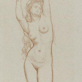 왼팔은 머리 위에 올려 놓고 오른 팔을 들고 있는 여인의 정면 나체화