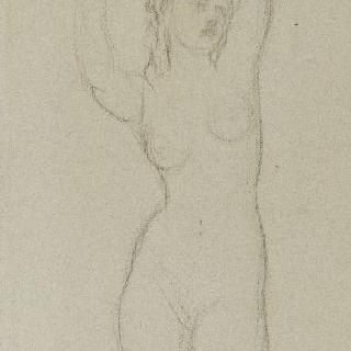 한 팔은 올리고 다른 팔은 머리 위에 올려놓은 서 있는 나체의 여인