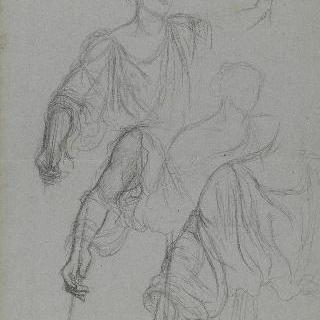 고대풍의 주름진 천을 두른 한 여인의 오른쪽 어꺠와 팔 습작 3점