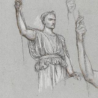 나폴레옹 1세의 신격화 습작 : 주름진 천, 포즈와 팔 습작