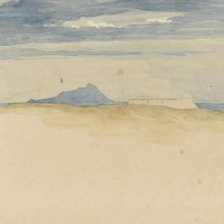 구름 낀 아늘 아래 파란색 바위가 있는 작음 섬과 흰색 토대