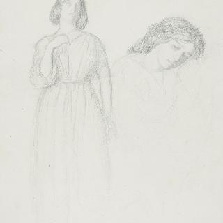 동맹 : 고개를 숙인 여인의 두상, 몽상적 인물