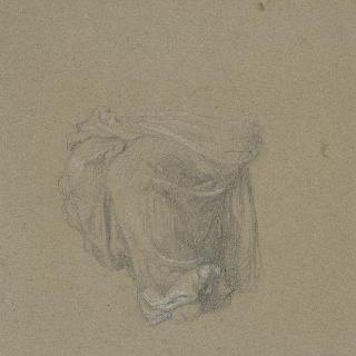 동맹 : 앉아있는 한 여인의 다리 주변의 주름진 천 습작