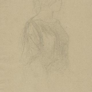 앉아있는 여인의 흉상 위로 주름진 튜닉의 주름 습작