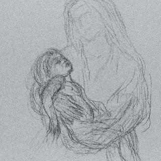잠든 아기 예수를 안고 있는 성모 : 아기 예수의 자세 습작