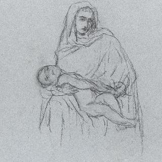 잠든 아기 예수를 안고 있는 성모 : 포즈 습작