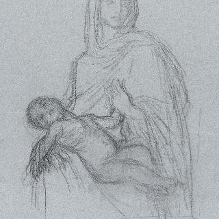 잠든 아기 예수를 안고 있는 성모 : 자세 습작