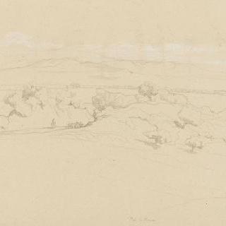 로마의 평야 : 산의 수평선 위의 펼쳐진 평야