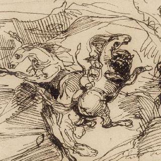 산에서 사자의 공격을 받는 세 마리 말