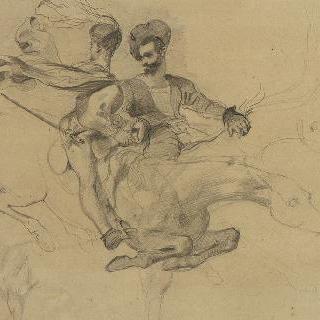 안식일 밤에 말을 타고 달리는 파우스트와 메피스토 : 17 석판 인쇄 줄거리을 위한 습작