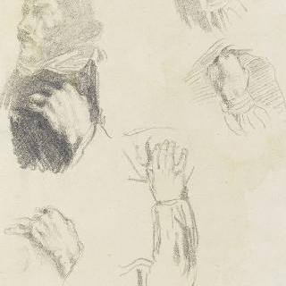 가슴에 손을 얹고 있는 남자 : 들라크루아 ; 손을 위한 습작