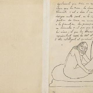 번호가 매겨지지 않은 백지와 마오리족 그림이 있는 프랑스어 텍스트