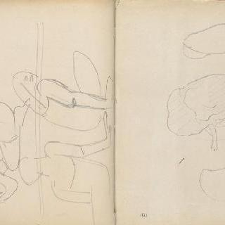 고대 마오리 제례의식 앨범 : 세 명의 인물 크로키 ; 나무 한그루와 두 개의 그린 얼룩