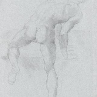 미켈란젤로풍의 등이 보이는 나체 남자