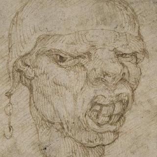 성직자의 모자를 쓴 인상찌푸리는 남자의 얼굴