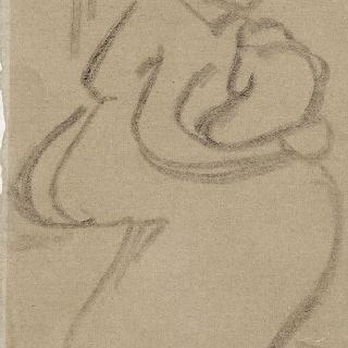 아이를 안고 앉아있는 여인의 간결한 크로키