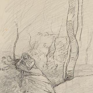 숲 속에 반쯤 누워, 몹시 슬픈 표정을 한 젊은 여자