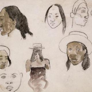 습작지 : 타히티 사람들 두상