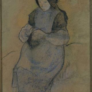 앉아서 뜨개질을 하는 돼지치기 소녀