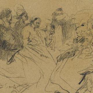 바토무슈 선상에서 : 앉아 있는 여자들을 바라보는 남자