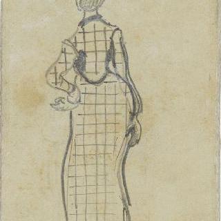 체크 무늬 드레스를 입은 우아한 여인의 뒷모습