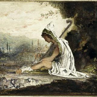 바닥에 앉아있는 인물과 피렌체가 보이는 배경, 지오토에 대한 경의