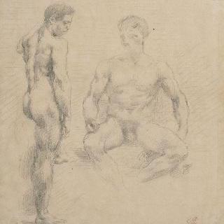 한 명은 서 있고, 다른 한 명은 앉아 있는 남자 나체에 대한 두 습작