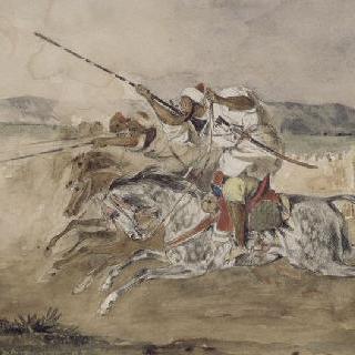 메크네스 문 앞의 아랍 기병의 기예