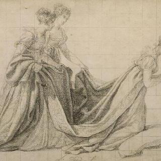 로슈부코 부인과 발레트 부인과 함께 무릎을 꿇고 있는 조세핀