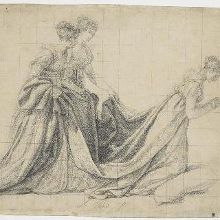 로슈푸코 부인과 라 발레트 부인의 시중을 받으며 무릎을 꿇고 있는 황후