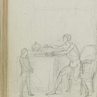 앨범 : 앉아 있는 남자 근처에 서 있는 청년