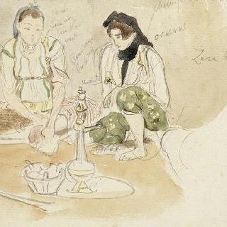앉아 있는 두 아랍 여인 ; 알제 여자들을 위한 습작