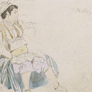 오른쪽 프로필로 앉아있는 아랍 여자 ; 알제 여자들을 위한 습작