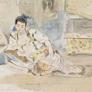 방석 위에 앉아있는 아랍 여자 ; 알제 여자들을 위한 습작