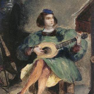 르네상스 시대의 이탈리아 복장을 한 젊은 기타연주자