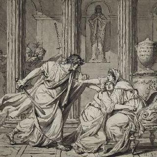 어머니의 품에 있는 자신의 형제 제타를 죽이는 카라칼라 ; 날짜, 서명 1782