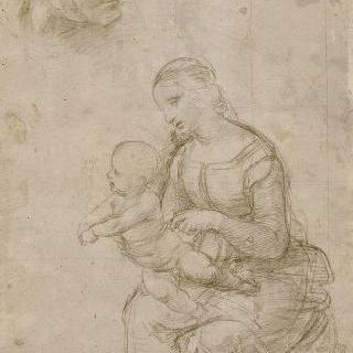 아기 예수를 안고 앉아있는 좌측 4분의 3상의 성모
