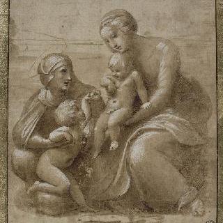 풍경 속 아기 예수를 안고 있는 성모, 성녀 엘리자베스와 작은 세례 요한