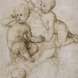벌거벗은 두 아이들, 우는 한 아이와 상단 부분의 세 번째 아이의 두상