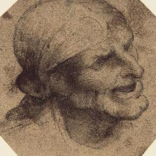정수리를 덮는 작은 모자를 쓴 인상을 지푸린 얼굴