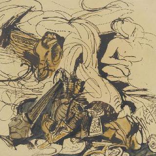 여러 가지 사물들, 코끼리 머리 형상이 있는 침대 모서리와 나체 여자