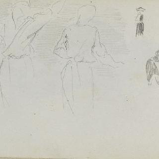 피레네 앨범 : 두 여인에 대한 빠른 필치의 스케치와 또 다른 세 개의 단순 크로키