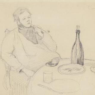 테이블에서 파이프 담배를 피우는 화가 그랑장의 초상